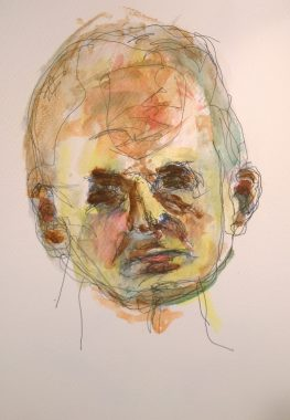 Watercolor self-portrait #3, by William Eaton, 15 Sep 2017