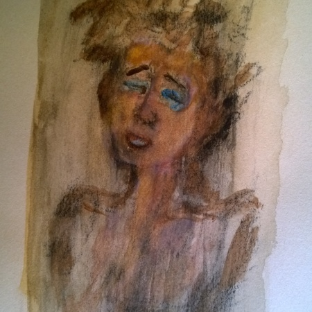 After Toulouse-Lautrec (Marcelle Lender), watercolor drawing by William Eaton, 20 Oct 2017