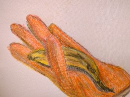 Glove and banana, drawing by William Eaton, Oct 2017