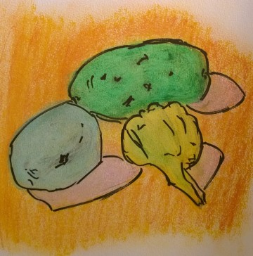 Potato, garlic & lemon in odd colors, drawing by William Eaton, 2017