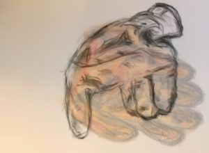 Two gloves on vellum, superimposed, drawing by William Eaton, May 2017 (2) - high res, flipped