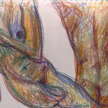 Woman and man naked in color, drawing by William Eaton, 2017