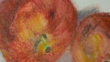 Apples close up, water-soluble pastels, 6 Feb 2017, Willlam Eaton