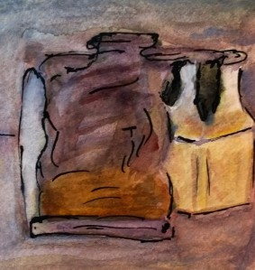 After Morandi, Natura morta, 1961, watercolor by William Eaton, Dec 2017 - 2