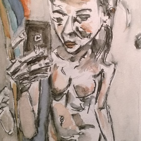 Nude with Cellphone, drawing-watercolor by William Eaton, Jan 2018 - 2