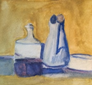 Watercolor after Morandi oil still life, by William Eaton, Dec 2017 - 1