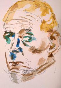 Watercolor self-portrait #2, by William Eaton, 15 Sep 2017