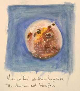 Blowfish, with help from Sakai Hōitsu, watercolor & gouache by William Eaton, Feb 2018 - 4