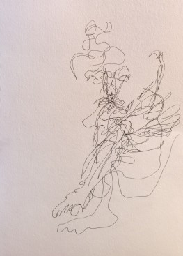 Very blind contours, pen drawing by William Eaton, National Arts Club, 10 Feb 2018 - 1