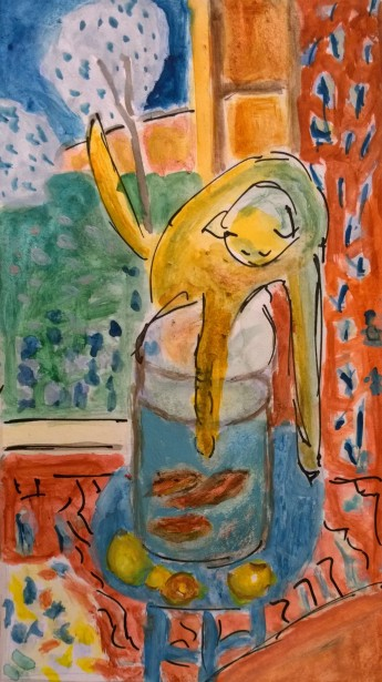 Après Matisse, Le chat aux poissons rouges, 1914 - gouache by William Eaton, 2018 - 2
