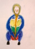 Squatting woman, oil pastels, by William Eaton, February 2018 - 1