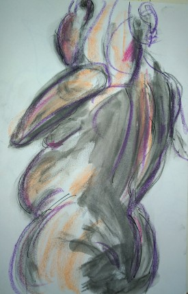 Woman in orange and gray, drawing by William Eaton, Oct 2018 - 2