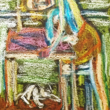 After Balthus, oil pastel drawing by William Eaton (doctored), 2018