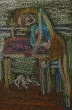 After Balthus painting, drawing by William Eaton, April 2018