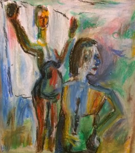 After David Park, Two Bathers, 1958 (SFMOMA), oil pastel drawing by William Eaton, 7 April 2018