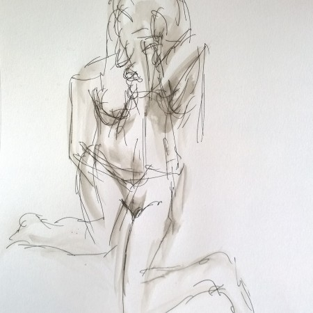 Model, legs akimbo, pen and water, drawing by William Eaton, 30 May 2018 - 1