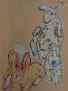 Kangaroo, rabbit, dog, gouache by William Eaton, May 2018