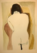 After Man Ray, White Back, watercolor by William Eaton, 3 July 2018