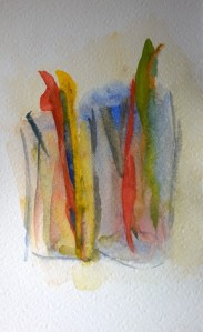 Not quite toothbrushes, watercolor by William Eaton, June 2018