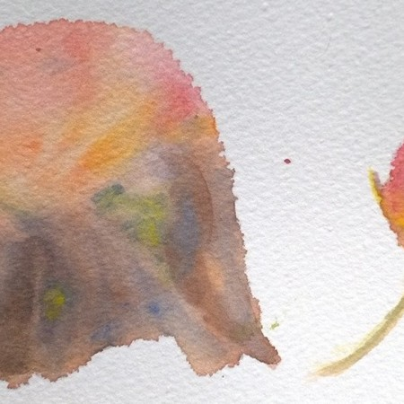 Two fall leaves, watercolor by William Eaton, June 2018