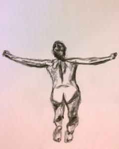 Woman leaping into pool, drawing by William Eaton, Aug 2018 - 2