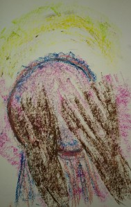 Hands on drum, Drumming Circle, Woodstock, oil pastel drawing by William Eaton, Sep 2018