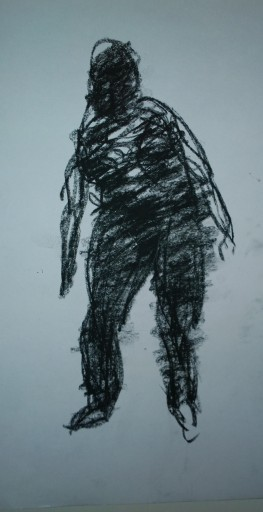 Leaning dancer, in black, Woodstock drumming circle, Sep 2018, drawing by William Eaton
