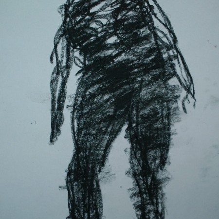 Leaning dancer, in charcoal, Woodstock drumming circle, Sep 2018, drawing by William Eaton