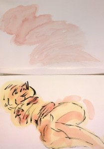 Melissa allongée, two watercolor approaches, William Eaton, Aug 2018 - 2