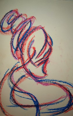 Woman in red and blue, Woodstock drumming circle, Magic Meadow, 24 Sep 2018, oil pastel drawing by William Eaton