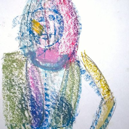 The woman with the yellow cheek, oil pastel by William Eaton, Radio Bean, Burlington, VT, Oct 2018