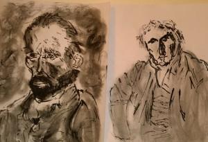 Van Gogh (Self-Portrait) & Ingres (Portrait de monsieur Bertin), versions with ink pen by William Eaton, Nov 2018