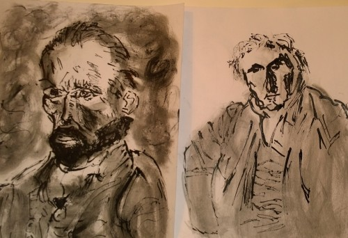 Van Gogh (Self-Portrait) & Ingres (Portrait de monsieur Bertin), versions with ink pen by William Eaton, Nov 2018