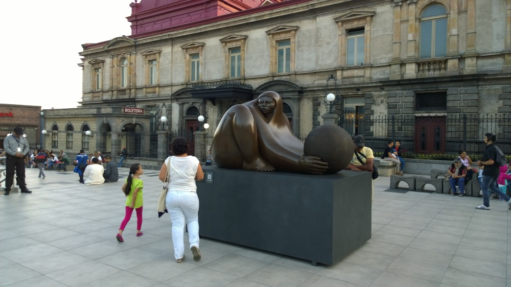 Jiménez Deredia, sculpture in San José, in front of Teatro Nacional, Feb 19 - 2