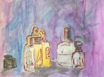 Bottles, purple backgroup, 22 April 2019, watercolor by William Eaton - 1