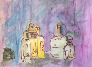 Bottles, purple backgroup, 22 April 2019, watercolor by William Eaton - 1