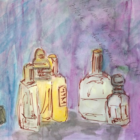 Still life, bottles, watercolor by William Eaton