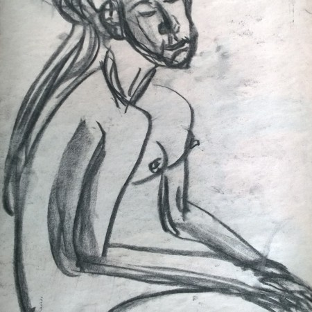 Charcoal from short pose, 24 March 2019, drawing by William Eaton - 1
