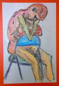 Nude woman in chair, color stick and brush pen drawing by William Eaton
