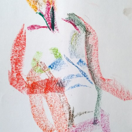 Nude woman, oil pastel drawing by William Eaton