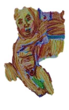Madonna con Bambino, dopo il dipinto di Luca Signorelli; drawn, manipulated and snipped by William Eaton, 2018-19 - surrounding deleted