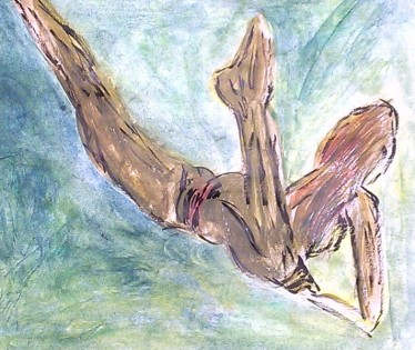 Nude swimmer, legs spread, watercolor by William Eaton