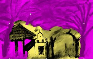 Villa Blanca paysaje, computer manipulated image after drawing by William Eaton