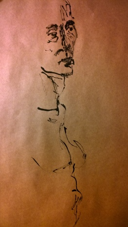 nude woman, reed pen drawing on kraft paper by William Eaton