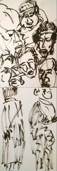Japan Society - Yoshitomo Nara - Sculpture Viewing Party, sketches by William Eaton, 2019