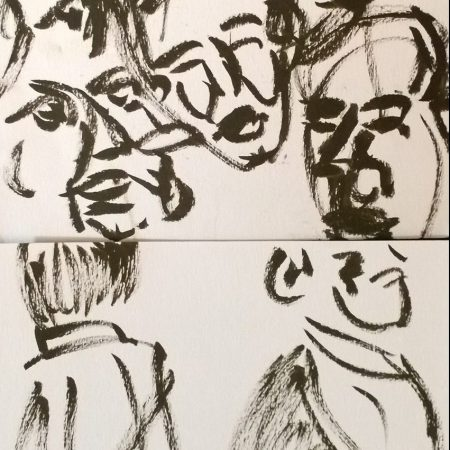 Japan Society - Yoshitomo Nara - Sculpture Viewing Party, sketches by William Eaton, 2019