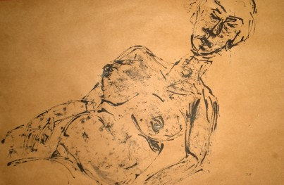 Preganant woman, portrait, reed pen on kraft paper, by William Eaton
