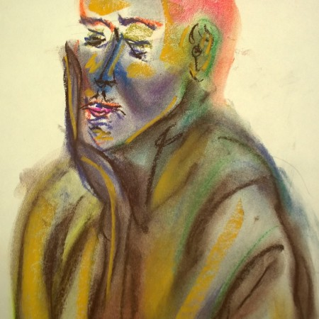 The lady with the orange hair, pastel drawing by William Eaton, May 2019