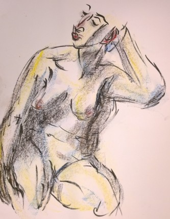 Young woman (nude), chillaxing, drawing by William Eaton