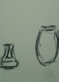 Another portion of Seven pots in a row, Byrdcliffe, drawing by William Eaton, 2018